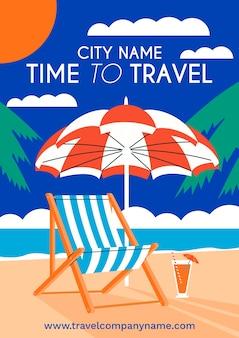 Hora de viajar design de cartaz ilustrado