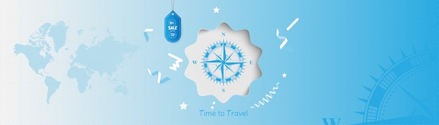 Hora de viajar. fundo da bandeira com venda e oferta especial 25% no turismo. conceito com bússola vintage e mapa-múndi.