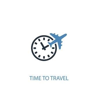 Hora de viajar ícone colorido do conceito 2. ilustração do elemento azul simples. tempo de viajar design de símbolo de conceito. pode ser usado para ui / ux da web e móvel