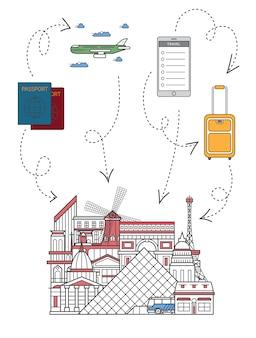 Hora de viajar ilustração no estilo linear