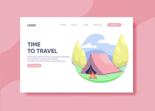 Hora de viajar ilustração para o modelo de página de destino