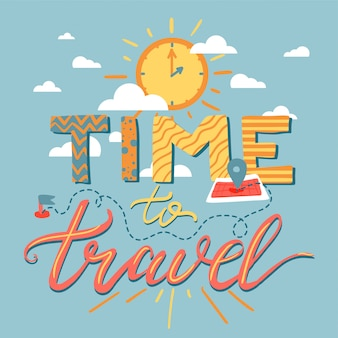 Hora de viajar lettering
