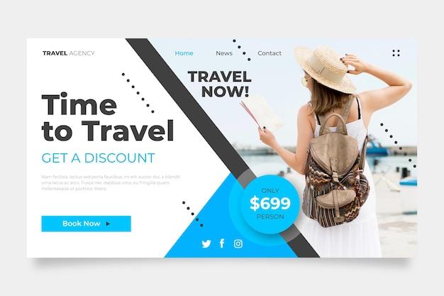 Hora de viajar modelo de página de destino de venda