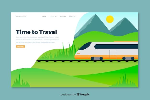 Hora de viajar na página de destino com o trem