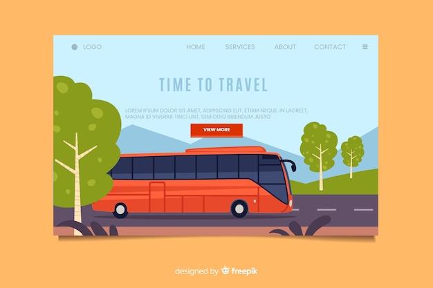 Hora de viajar na página de destino