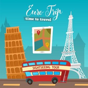 Hora de viajar. viajar de autocarro. viagem euro. ilustração vetorial