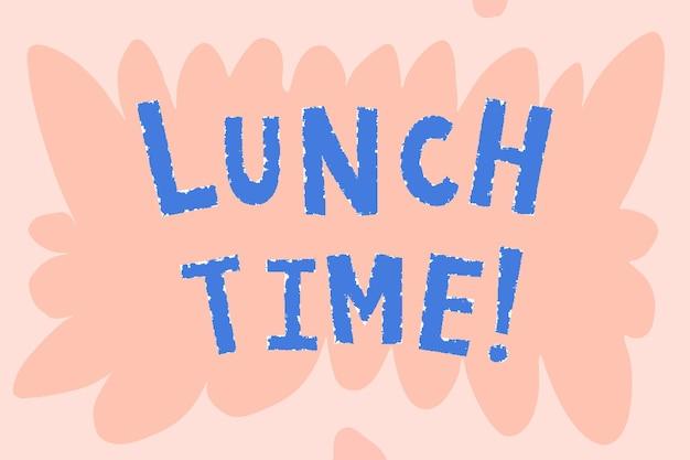 Hora do almoço azul! tipografia doodle em um fundo rosa