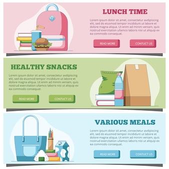 Hora do almoço banners horizontais da web em estilo simples. ilustração vetorial para cabeçalho do site