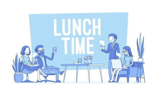 Hora do almoço na ilustração do escritório