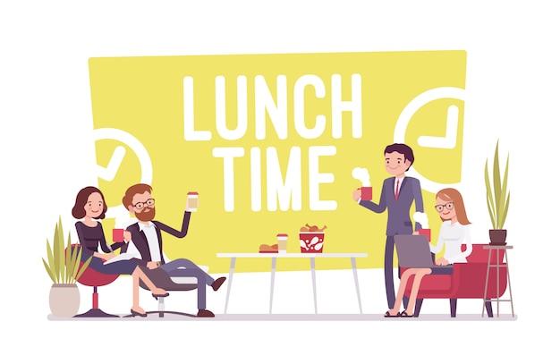 Hora do almoço no escritório