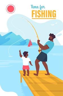 Hora do banner de convite para pesca