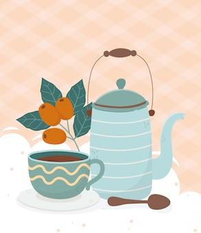 Hora do café, bule de café xícara colher sementes de bebidas frescas