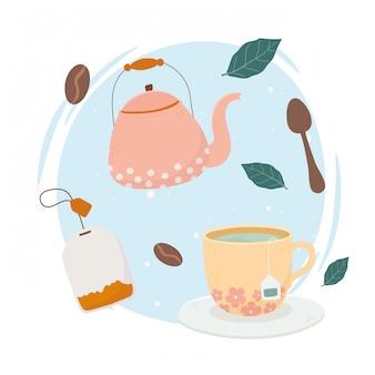 Hora do café, bule de chá xícara de chá colher bebida fresca
