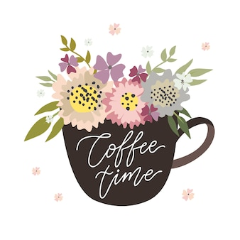 Hora do café, caneca com flores