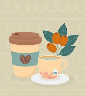 Hora do café, copo para viagem e xícara de chá de bebidas frescas