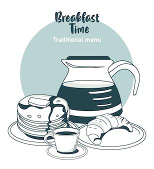 Hora do café da manhã com café e ingredientes