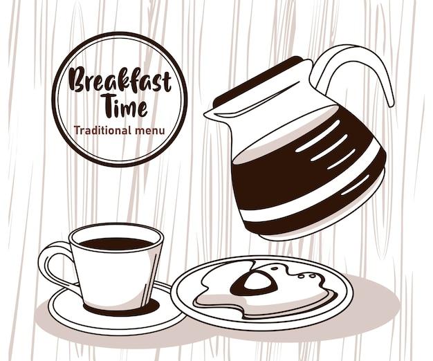 Hora do café da manhã com café e ovo frito