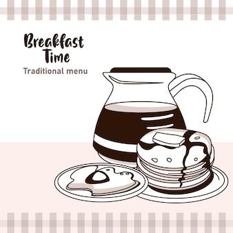 Hora do café da manhã com cafeteira e ovo frito