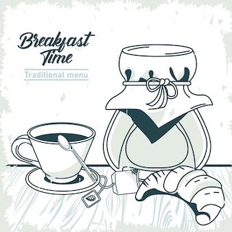 Hora do café da manhã com croissant e café