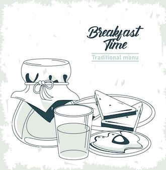 Hora do café da manhã com mel e ovo frito