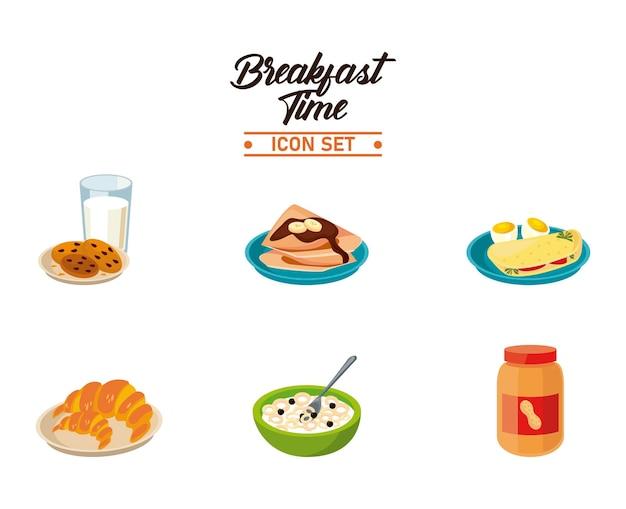 Hora do café da manhã com pacote de seis ingredientes