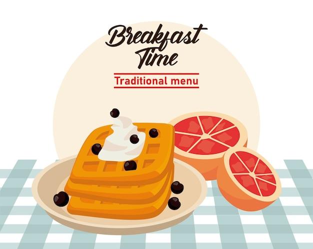 Hora do café da manhã com pães e laranjas