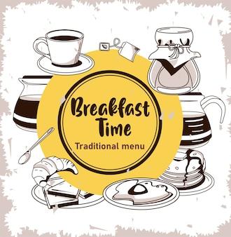 Hora do café da manhã com utensílios e ingredientes