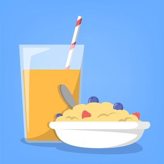 Hora do café da manhã. suco de laranja e mingau saudável