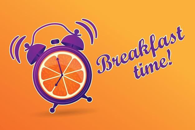 Hora do café da manhã suco de laranjas no café da manhã