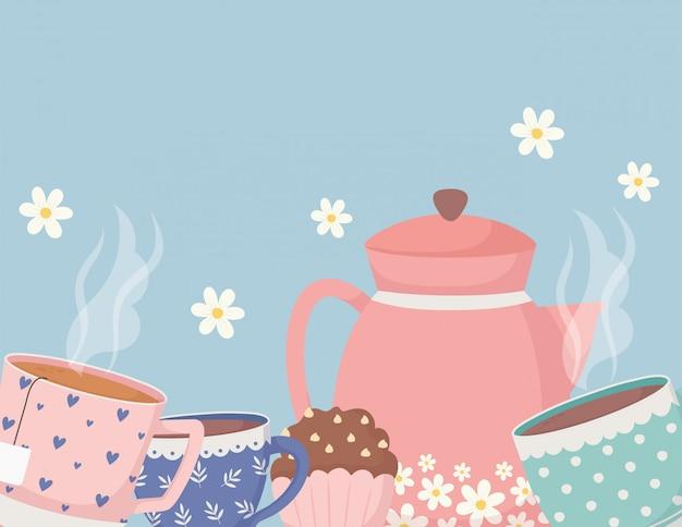 Hora do café e chá, bule xícaras cupcakes com decoração de flores