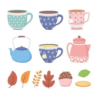 Hora do café e chá, xícaras de bule de laranja em fatias de cerâmica e folhas de ervas