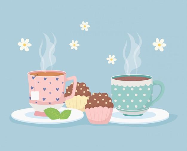 Hora do café e chá, xícaras quentes e cupcakes doces sobremesa