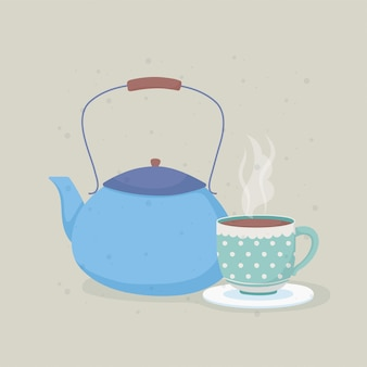 Hora do café e chaleira azul e copo com placa