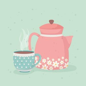 Hora do café e xícara de chá e chaleira bebidas frescas