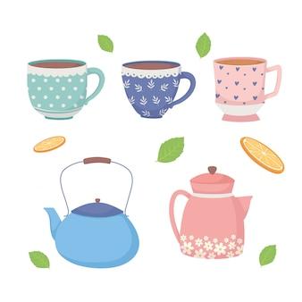 Hora do café e xícaras de chá chaleiras e folhas ícones