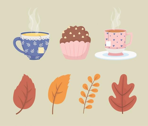 Hora do café e xícaras de chá saquinhos de chá sobremesa e decoração de cupcake