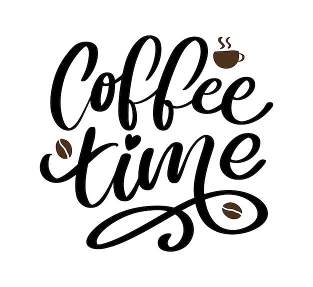 Hora do café hipster vintage estilizado letras.