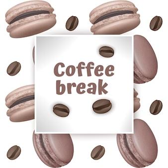 Hora do café. modelos com grãos de café e macarons