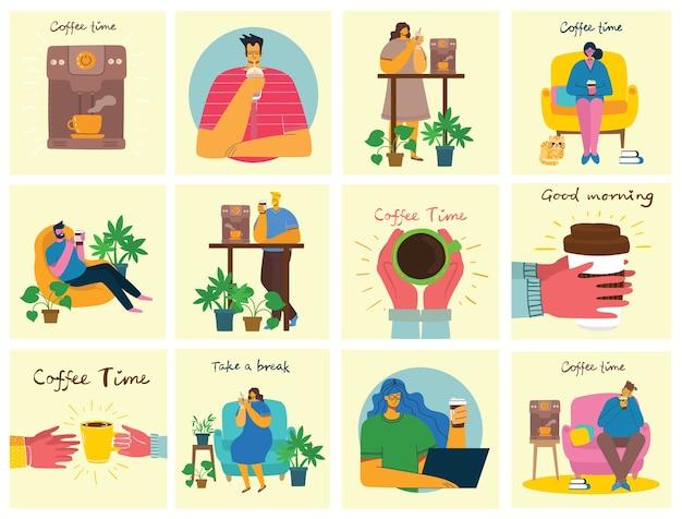 Hora do café, pausa e cartões de conceito de relaxamento.