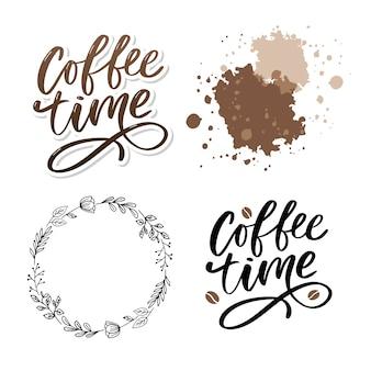 Hora do café slogan positivo desenhado de mão. caligrafia de escova moderna. conjunto de ilustração de tinta