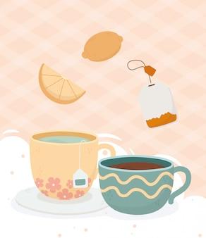 Hora do café, xícara de chá e xícara de café saquinho de chá limão bebida fresca