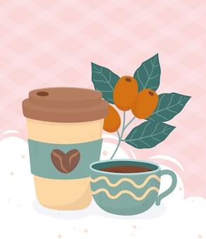 Hora do café, xícara para viagem e bebida fresca para café