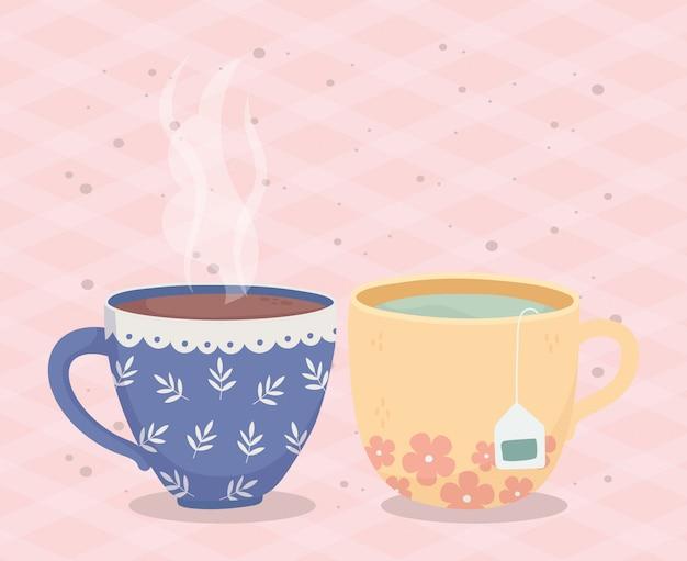 Hora do café, xícaras café chá saquinho de chá bebida fresca