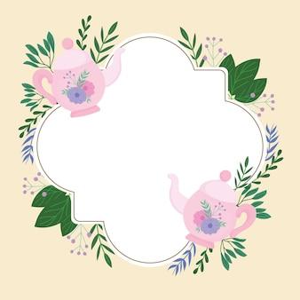Hora do chá, bule de chá fofo, flores, decoração, grinalda, delicada etiqueta