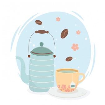 Hora do chá, bule e xícara de chá aroma bebidas frescas