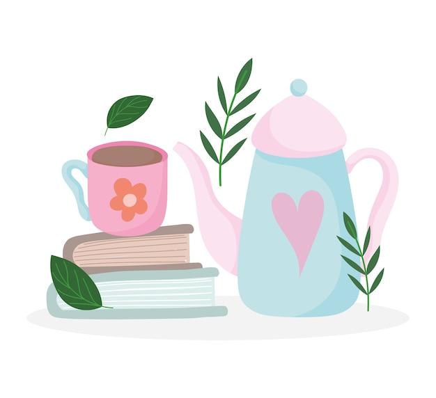 Hora do chá, bule e xícara fofos em livros, utensílios de cozinha de cerâmica, ilustração de desenho floral