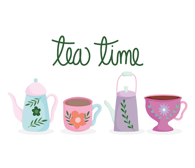 Hora do chá, bule e xícaras com potes de cerâmica de cozinha com estampa de flores, ilustração de desenho floral