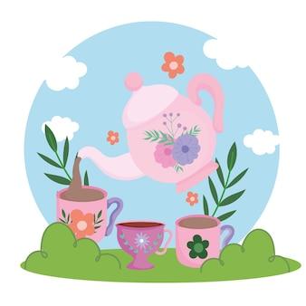 Hora do chá, chaleira servindo copos de bebida fresca, flores forais e ilustração da natureza da grama