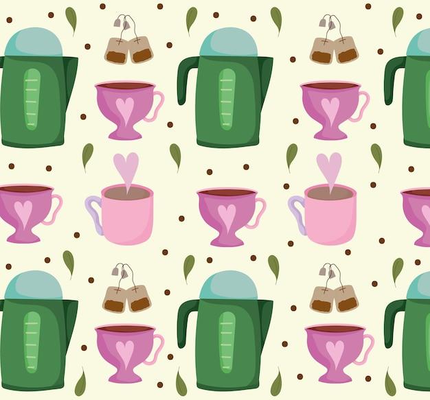 Hora do chá chaleiras xícaras de chá saquinhos de chá bebida adorável ilustração de fundo