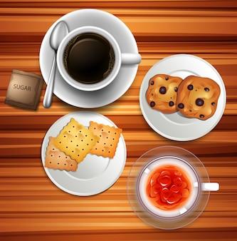 Hora do chá com café e biscoitos